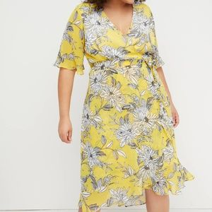 Yellow Floral Faux-Wrap Fit & Flare Dress